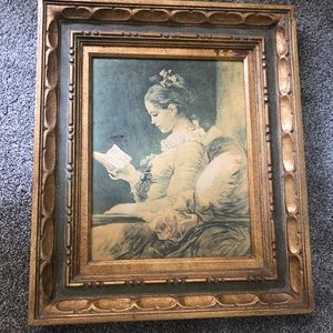 Young Girl Reading print in gold frame